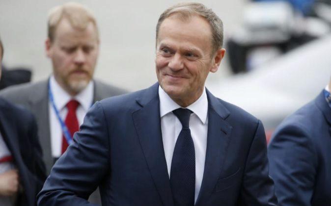 El presidente del Consejo Europeo, Donald Tusk, a su llegada a la...
