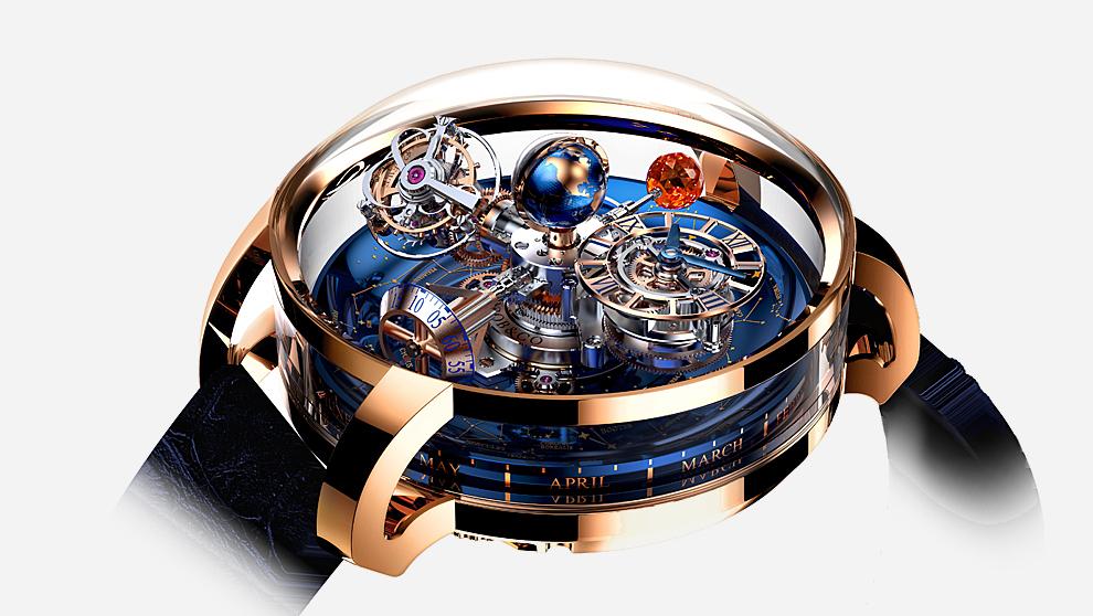 El Astronomia Sky es un reloj de disco de titanio azulado decorado con...