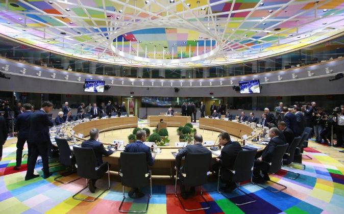 Vista general de los líderes de la Unión Europea (UE) reunidos...