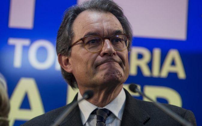 - El expresidente Artur Mas hoy durante la rueda de prensa en la qu