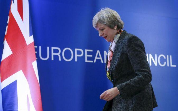 La primera ministra del Reino Unido, Theresa May, en la última cumbre...