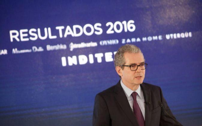 El presidente de Inditex, Pablo Isla, durante la presentación de los...