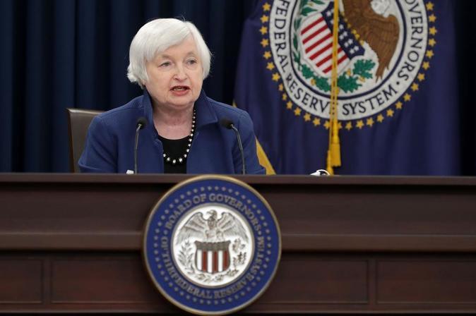 Janet Yellen, presidenta de la Fed, durante la rueda de prensa...