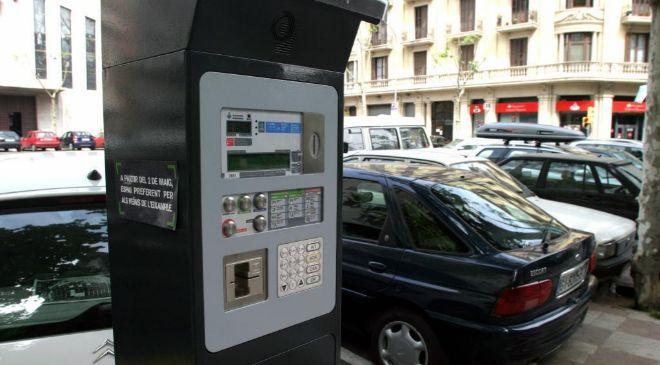 Parquímetro del barrio del Ensanche, en Barcelona