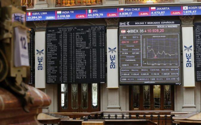 Panel de cotizaciones en la Bolsa de Madrid.