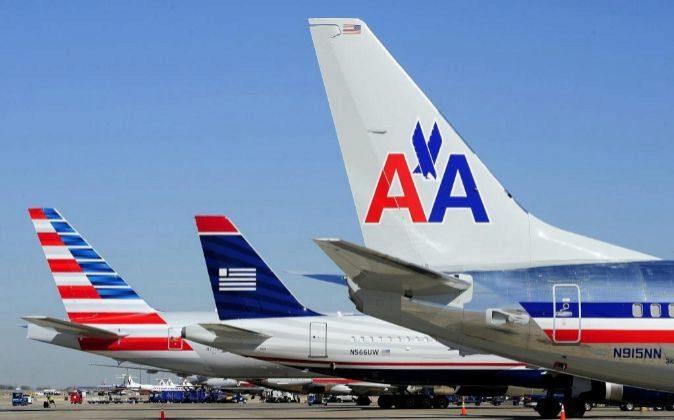 Vista de un avión de American Airlines.