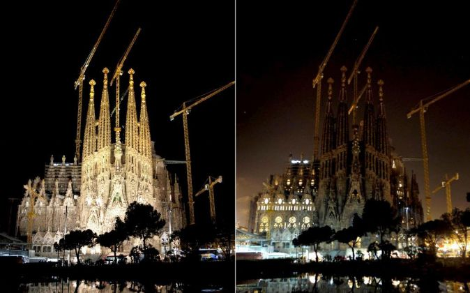 """La Sagrada Familia de Barcelona antes (i) y durante """"La Hora del..."""