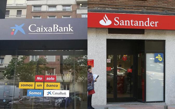 Sucursales de CaixaBank y Santander.