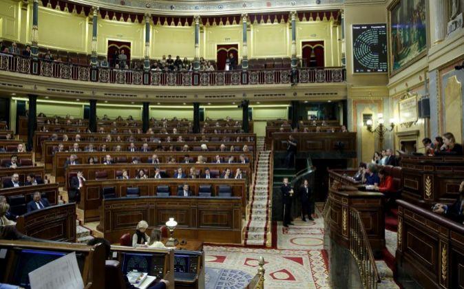 Vista del pleno del Congreso que ha aprobado hoy por unanimidad la...
