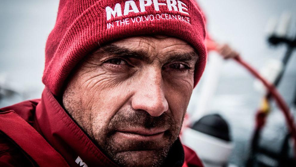 Xabi Fernández, a bordo del 'Mapfre', durante la última...