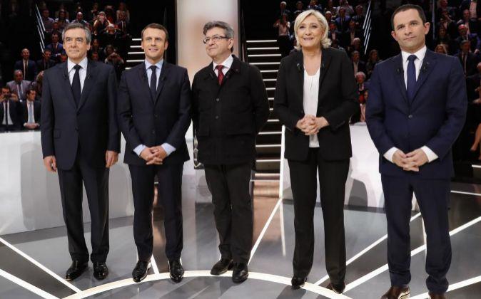 Los principales candidatos a la presidencia francesa en el primer...