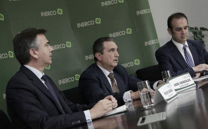 Los directivos de la ingeniería Inerco Pedro Marín, José González...