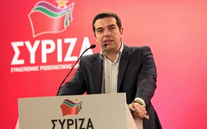 Alexis Tsipras, primer ministro griego y líder de la coalición de la...