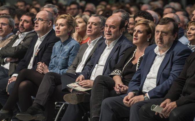 El lehendakari Iñigo Urkullu, Andoni Ortuzar, Presidente del PNV,...
