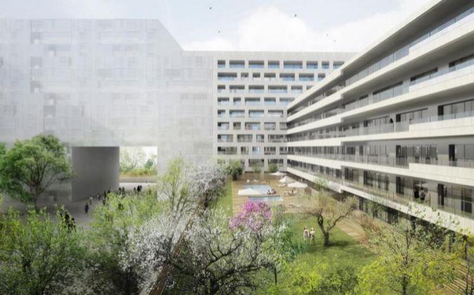 Recreación virtual del futuro bloque de viviendas enLa Sagrera.
