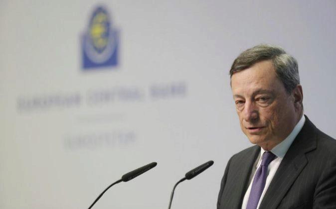 El presidente del Banco Central Europeo (ECB), Mario Draghi, durante...
