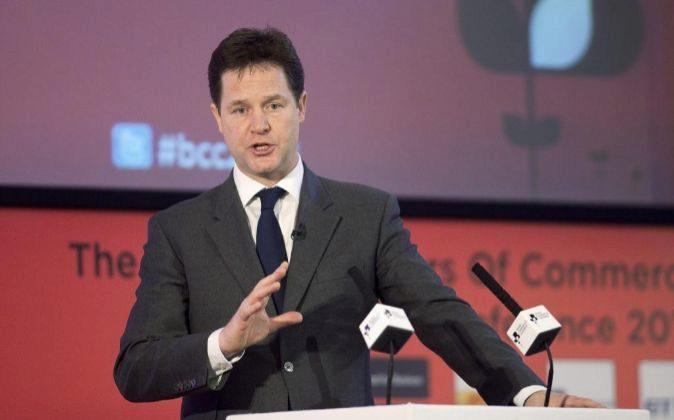 Nick Clegg, el ex vice primer ministro de Reino Unido en un acto de...