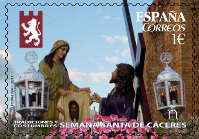 Imagen del sello que promocionará la Semana Santa cacereña.
