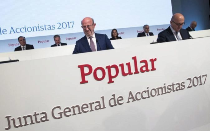 Junta de Accionistas de Banco Popular; Emilio Saracho y Pedro Larena,...