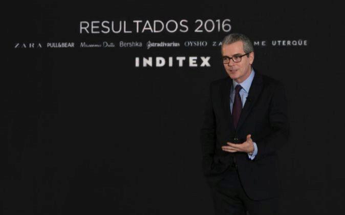 Pablo Isla, presidente de Inditex, en la presentación de los...