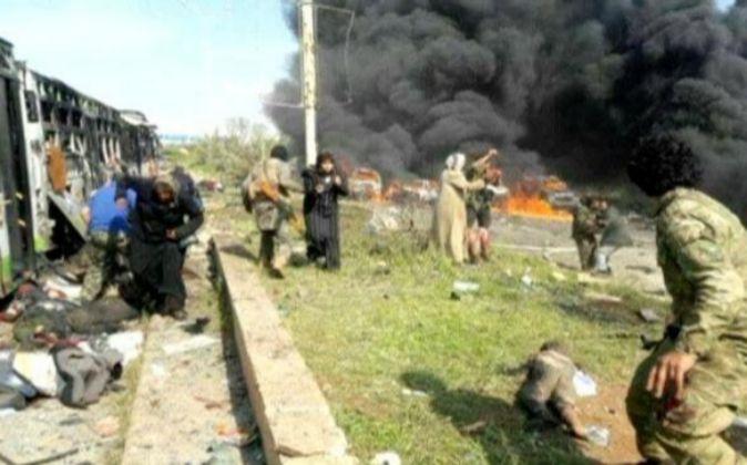 Zona en la que tuvo lugar el atentado contra el convoy de evacuados