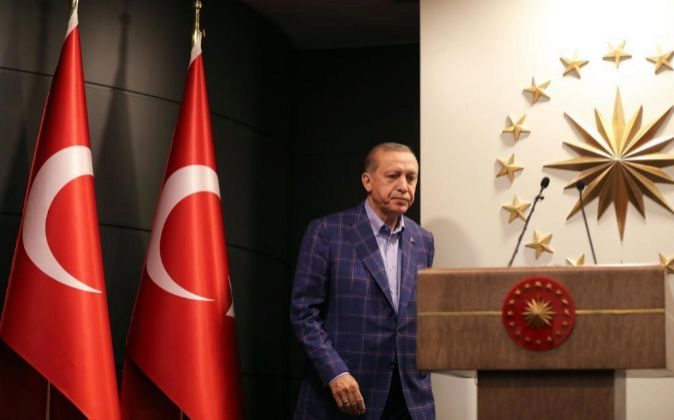 Imagen del presidente turco, Erdogan, tras el referéndum