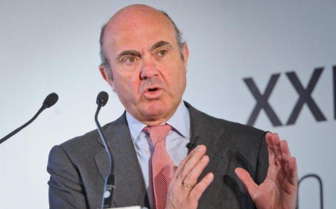 Guindos, ministro de Economía, durante su intervención en el XXIV...
