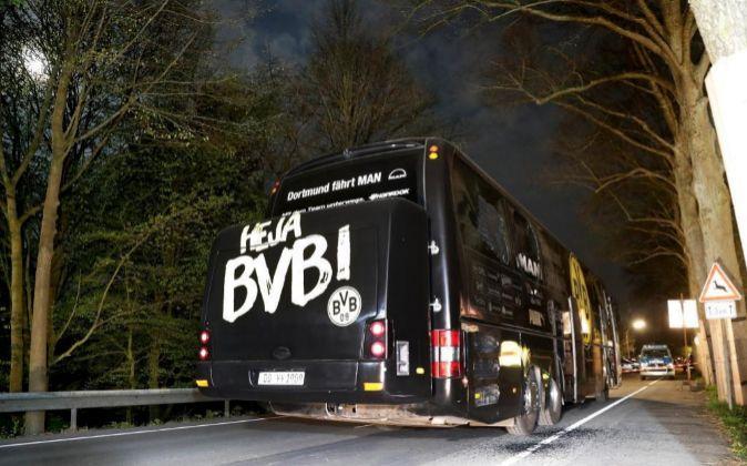 El autobús del Borussia Dortmund, atacado el pasado 11 de abril.