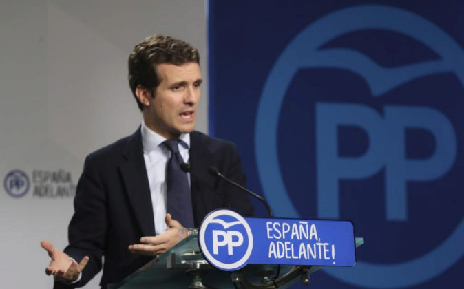 El vicesecretario de Comunicación del PP, Pablo Casado, hoy durante...