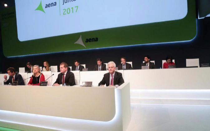 Imagen de la junta de accionistas de AENA celebrada hoy