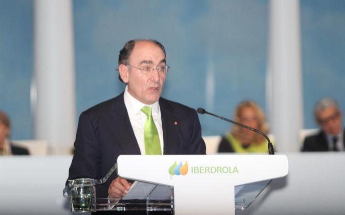 Ignacio Sánchez-Galán, durante la pasada junta de accionistas en...