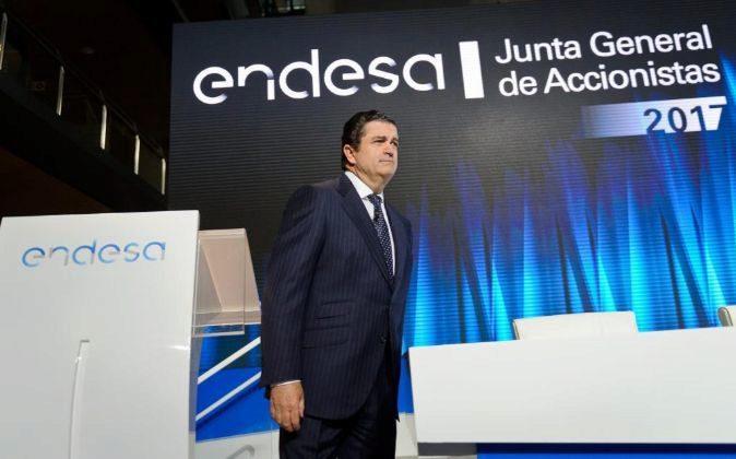 El presidente de Endesa, Borja Prado, hoy en la junta de accionistas...