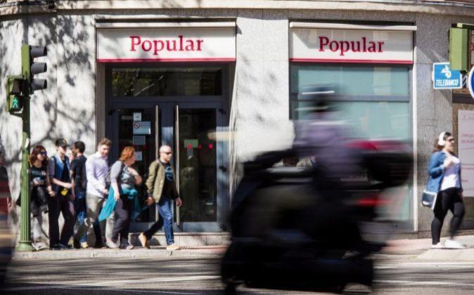 Imagen de un sucursal de Banco Popular en Madrid