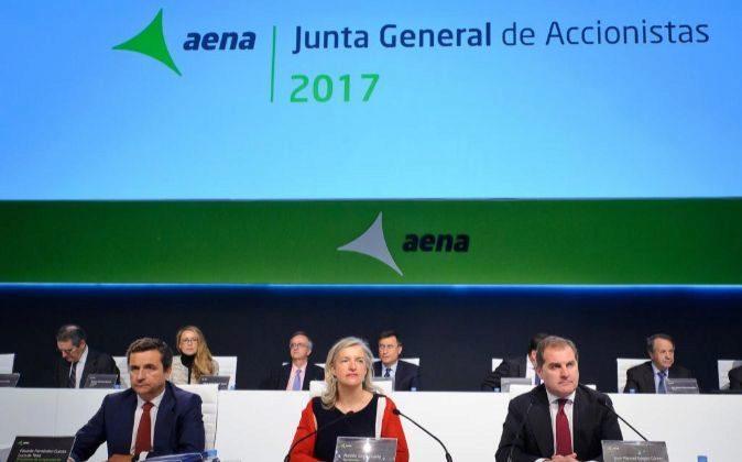 Imagen de la junta general de accionistas de Aena, celebrada esta...