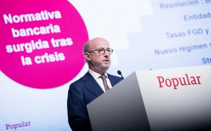 Emilio Saracho, presidente de Banco Popular, durante la pasada Junta...