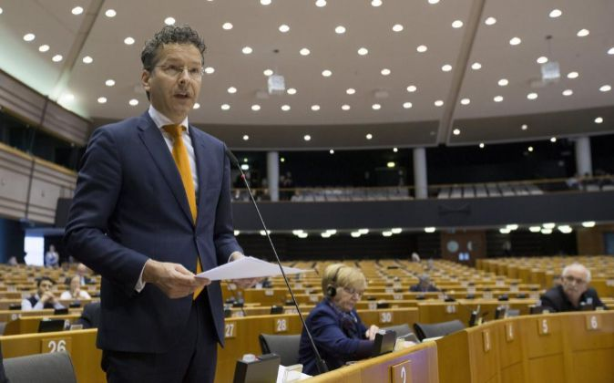El presidente del Eurogrupo, Jeron Dijsselbloem, durante su...