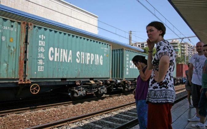 Tren de mercancías. Foto de archivo.