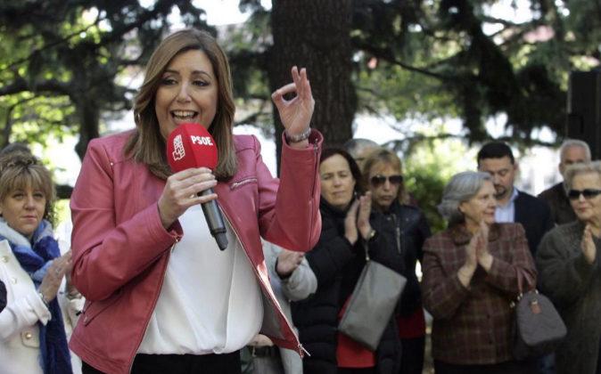 La presidenta de la Junta de Andalucía y candidata a las primarias...