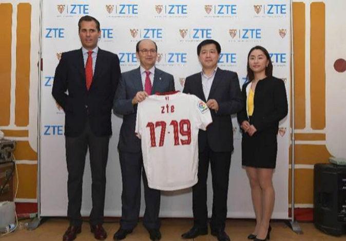 Imagen de la presentación del acuerdo entre ZTE y el Sevila FC, este...