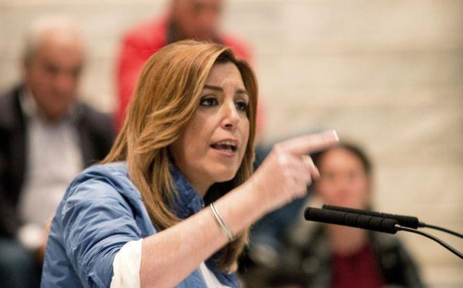 La candidata a la Secretaría General del PSOE y presidenta de la...