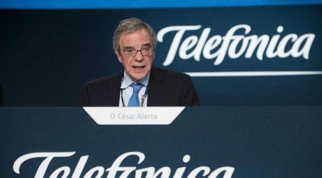 César Alierta, en la junta de accionistas de Telefónica de 2015.