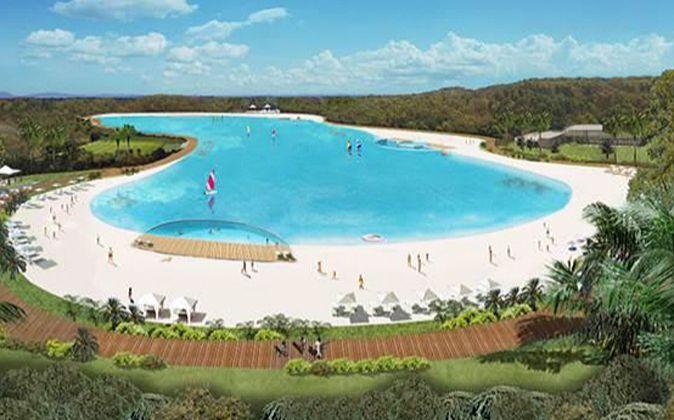 Imagen de la laguna artificial, con playa, que crearía Cordish en...