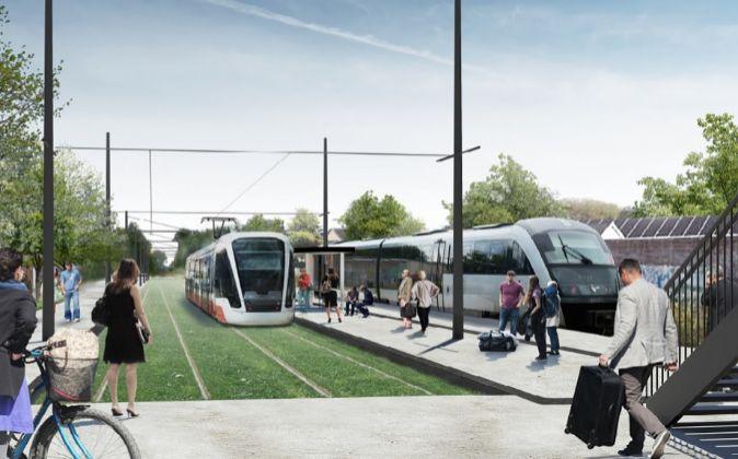 Recreación en 3D del tranvía a Odense (Dinamarca)