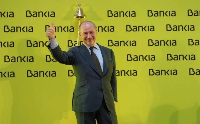 Rodrigo Rato en el día de la salida a Bolsa de Bankia.