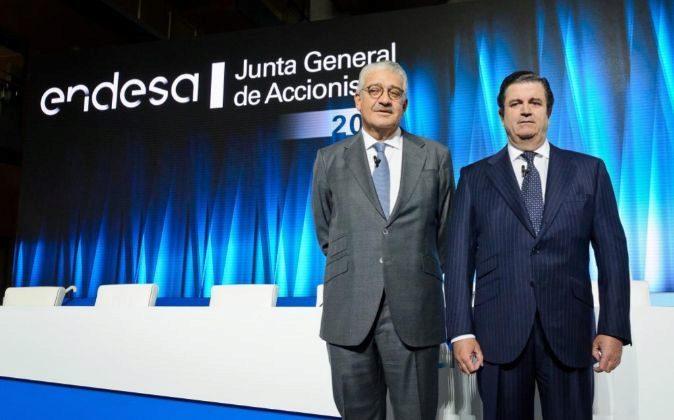 Borja Prado, presidente de Endesa, y José Bogas, consejero delegado,...