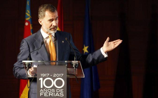El rey Felipe VI interviene en el acto conmemorativo del centenario de...