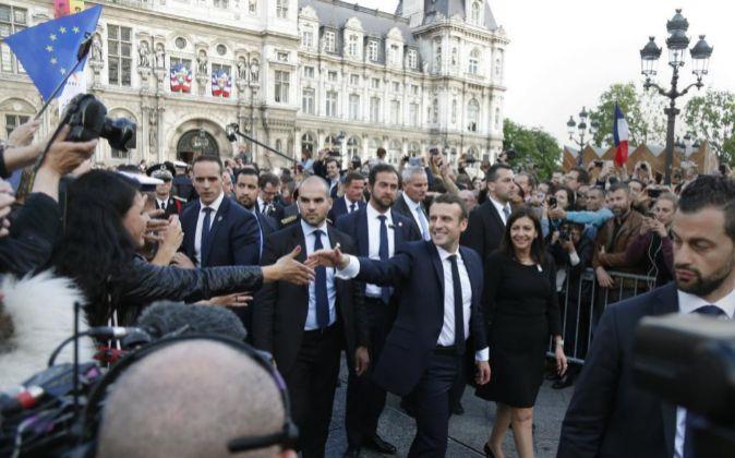 El primer ministro de Francia, Emmanuel Macron ayer en París,...