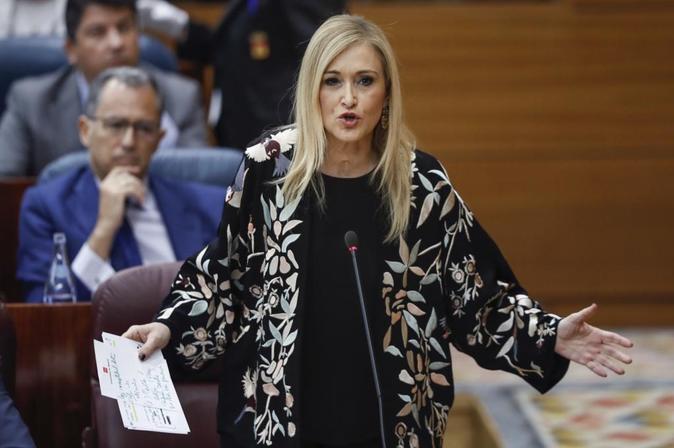 La presidenta regional, Cristina Cifuentes, durante su intervención...