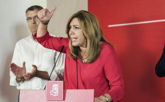 La presidenta de la Junta de Andalucía y candidata a la secretaría...