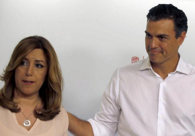 Los candidatos a la Secretaría General del PSOE Susana Díaz y Pedro...